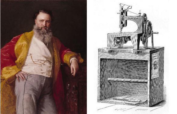 Isaac Merritt Singer et sa machine à coudre à navette verticale. Les premières machines s'installaient sur leur caisse d'emballage qui constituait la table de la machine.
