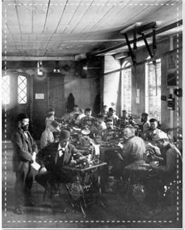 ateliers de montage de macines à coudreHusqvarna vers 1900