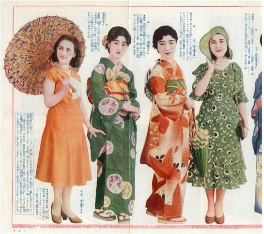 Page sur la mode féminine japonaise dans les années 1930