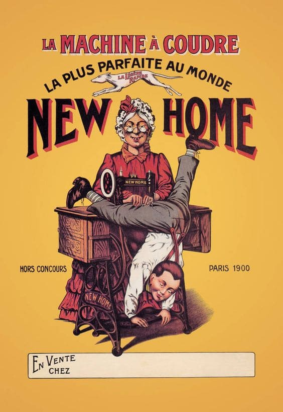 Publicité machine à coudre new home 1900