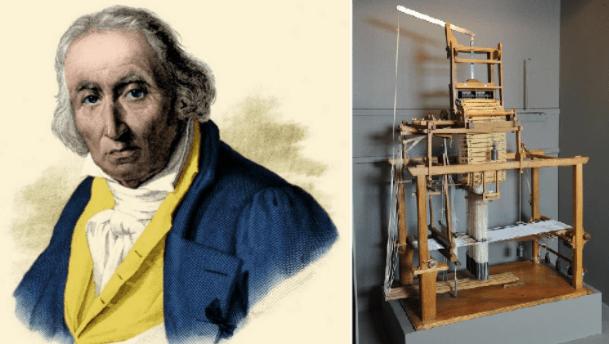 Joseph Jacquart et son métier à tisser mécanique