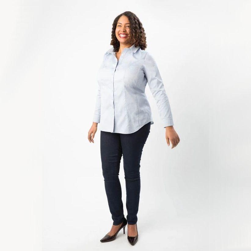 chemise Harrisson de la marque Cashmerette bleue claire