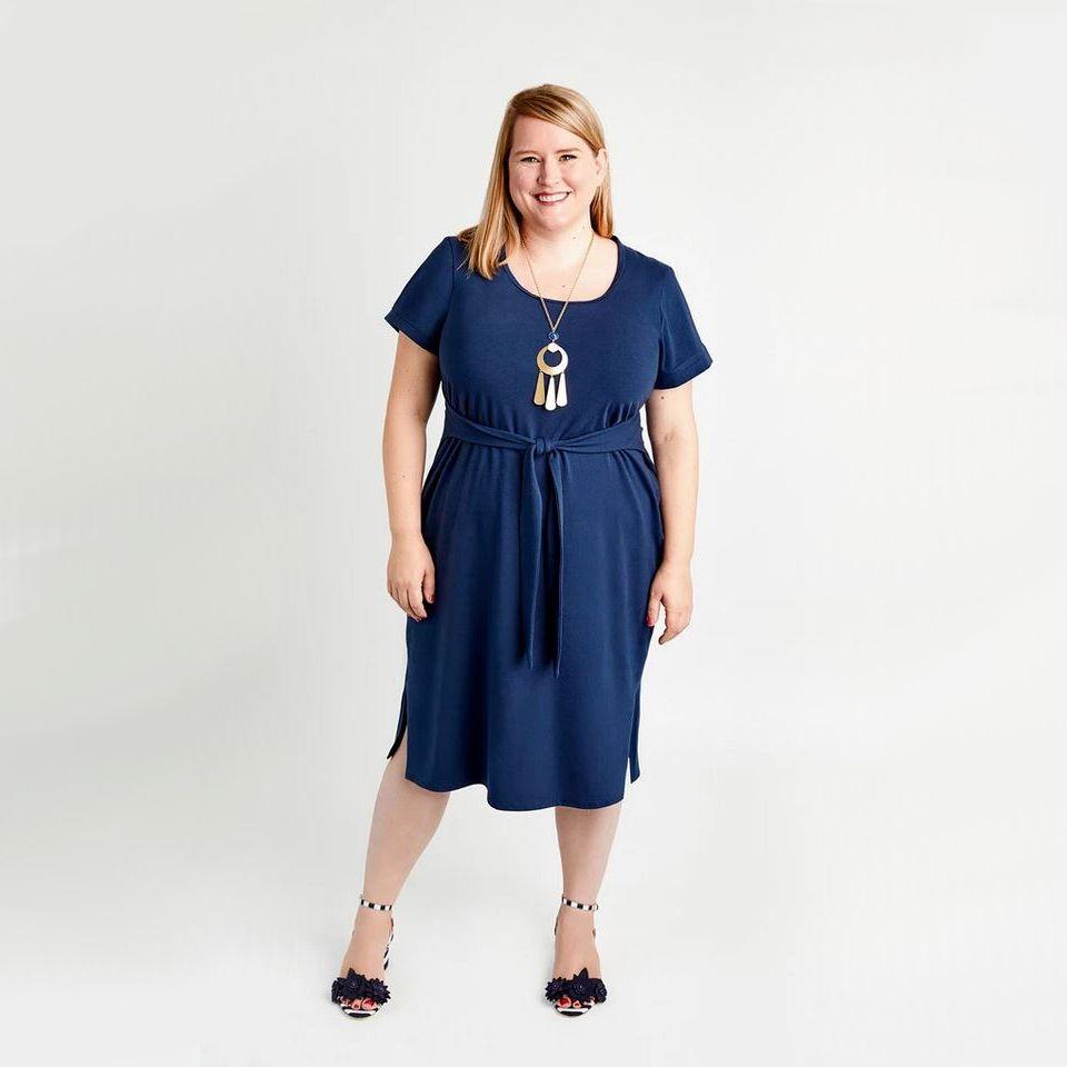 Robe Pembroqke de la marque Cashmerette bleue unie