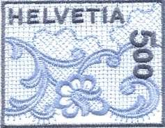 Timbre brodé émis par la poste Suisse le 21 juin 2000