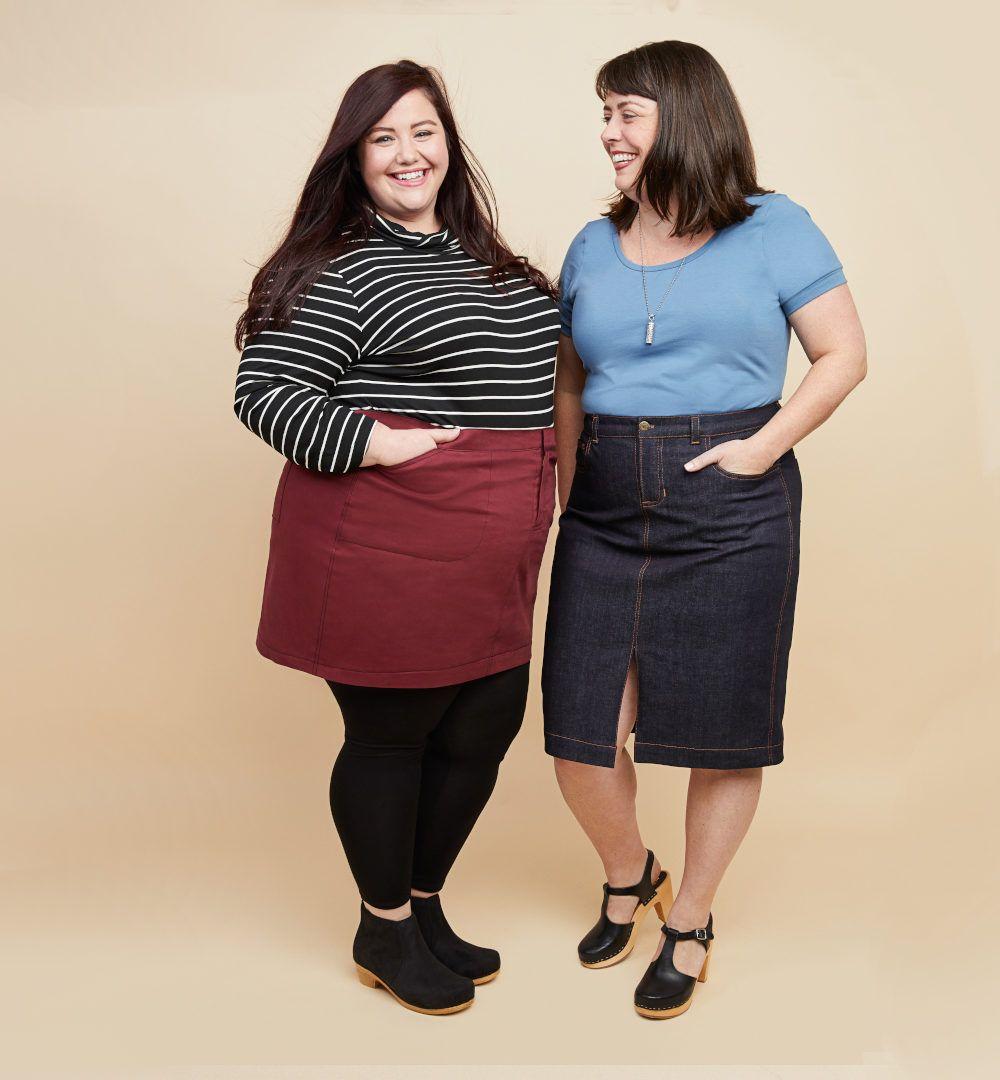 femmes portant une version longue et une version courtede la jupe Ellis de Cashmerette