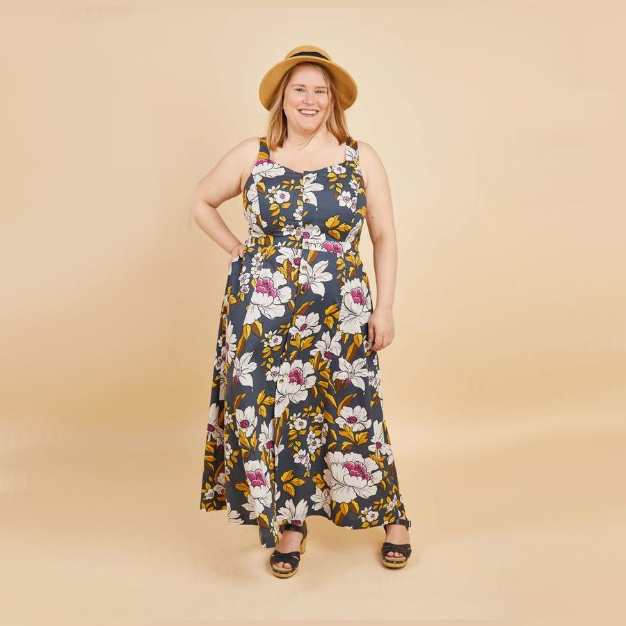 robe Holyoke imprimé fleuri sur fond bleu