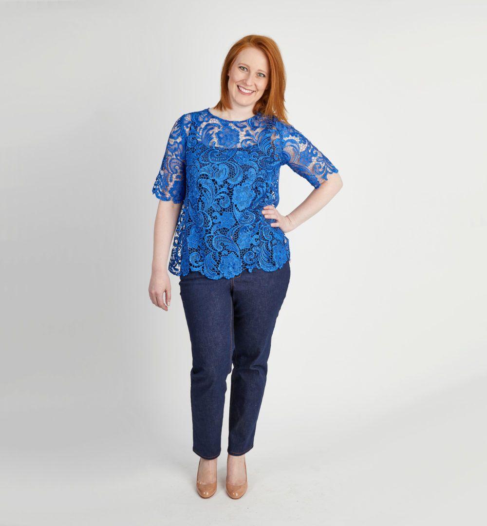 tshirt Monrose de Cashmerette en dentelle bleue