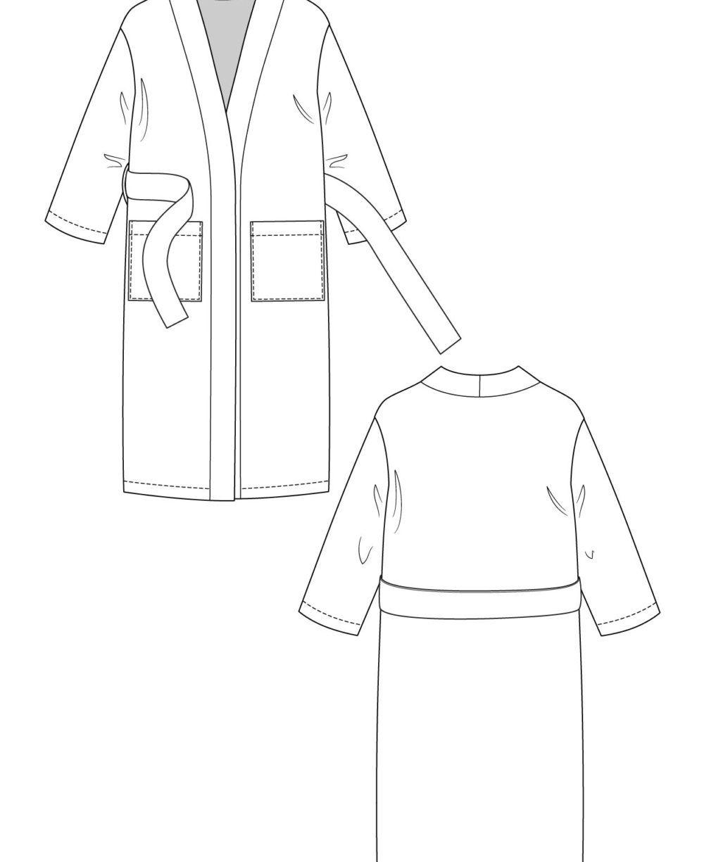 dessin technique robe de chambre lahja longue