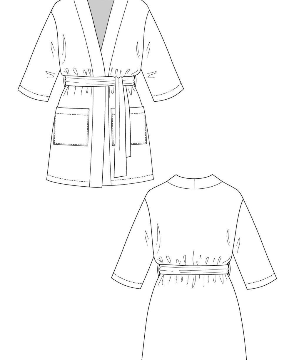 dessin technique robe de chambre lahja courte