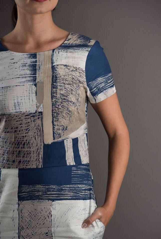 patron de couture the avid seamstress robe ajustée gros plan sur la poche