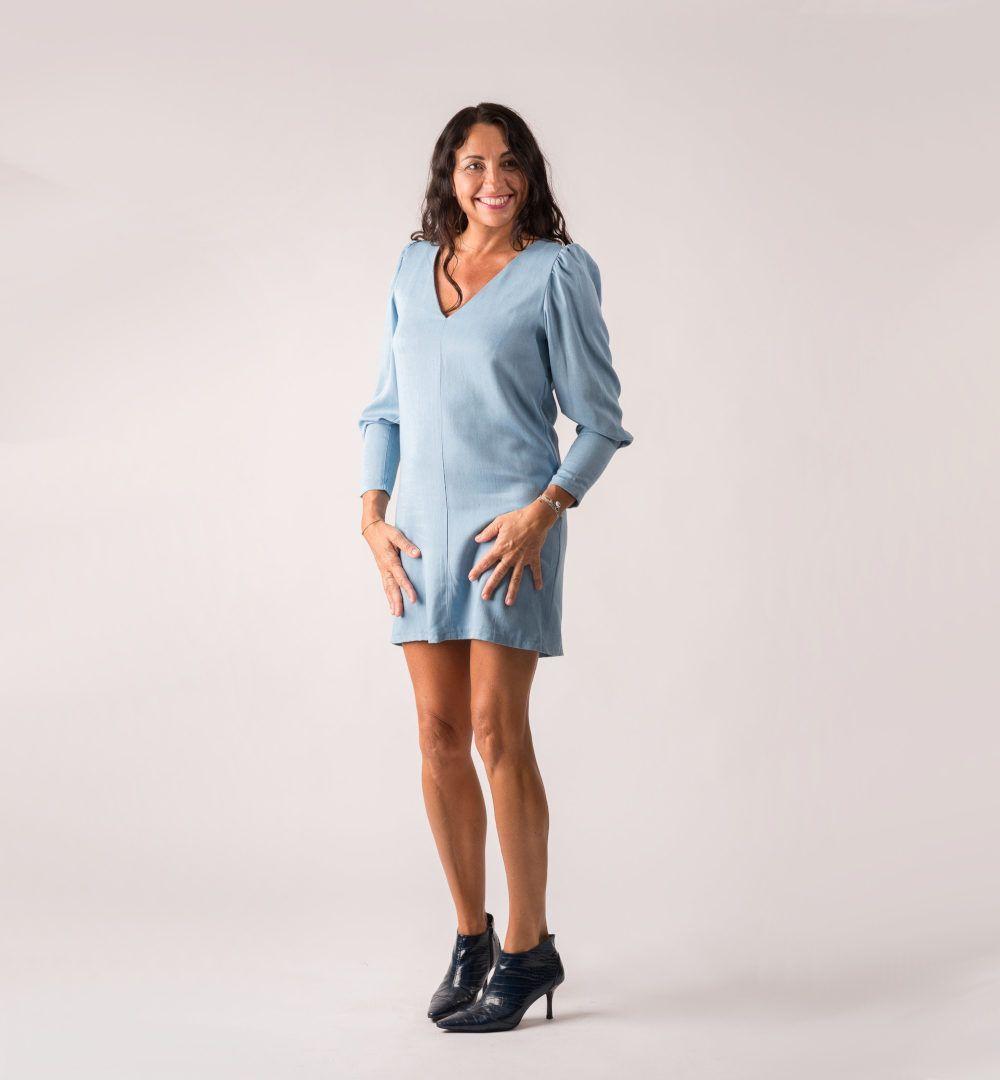 robe alise de clématisse en bleu