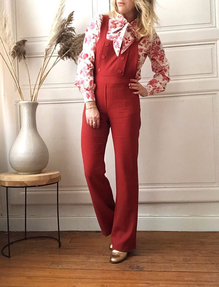 patron couture salopette miky rouge