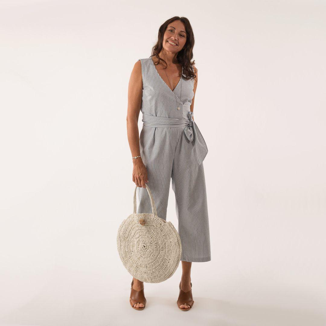 combinaison pantalon mina en tissu rayé