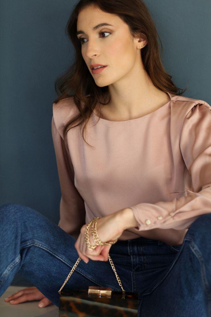 patron blouse kim de clématisse rose poudrée