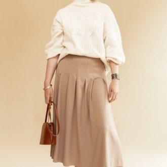 patron lenaline jupe a plis en laineage beige
